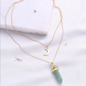Casual Two Layer Moon Pendent Necklace